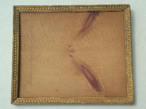 Antique Gold Wood Picture Frame Original Plank Back Frame W Square