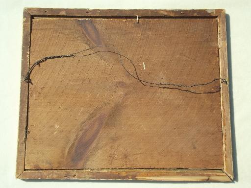 Antique Gold Wood Picture Frame Original Plank Back Frame W Square