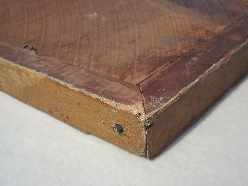 antique gold wood picture frame, original plank back frame w/ square nails