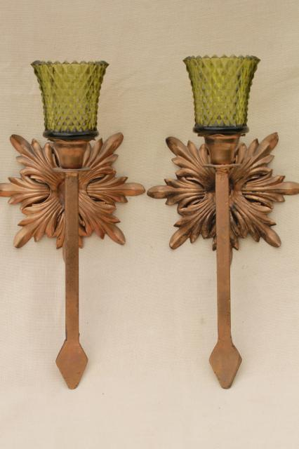 antique gold wrought iron rosettes wall sconce set, pair of vintage candle sconces