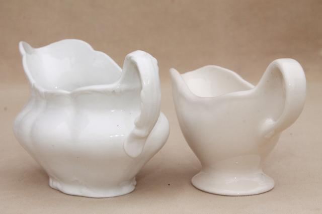 antique gravy boats & sauce pitchers, English & American white ironstone & semi porcelain china