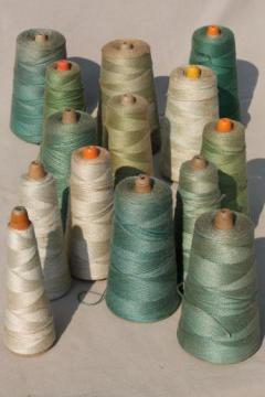 antique green colors primitive grubby old spools of vintage cotton cord thread