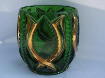antique green glass w/ gold, vintage pressed pattern celery vase or spooner