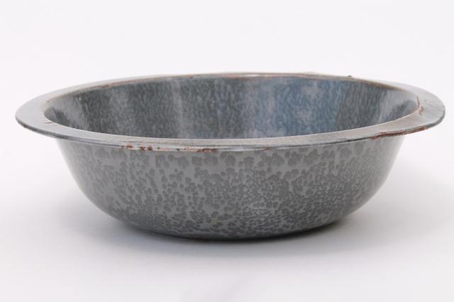 Antique Grey Graniteware Enamel Basin Dishpan Or Large