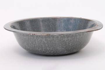 antique grey graniteware enamel basin, dishpan or large bowl, vintage enamelware