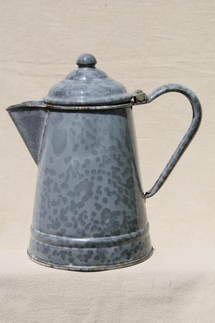 Antique Grey Graniteware Enamel Coffeepot Primitive