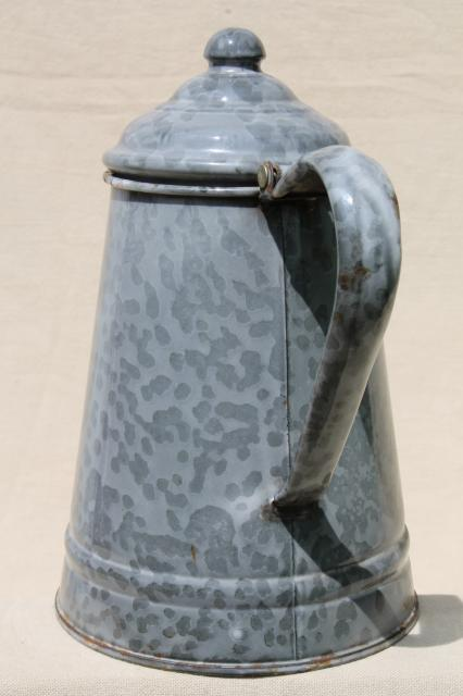 antique grey graniteware enamel coffeepot, primitive vintage coffee pot