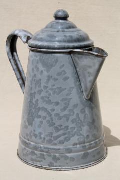 antique grey graniteware enamel coffeepot, primitive vintage coffee pot