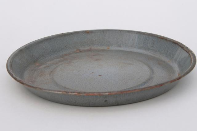 antique grey graniteware enamel pie pans or camp plates, vintage enamelwar