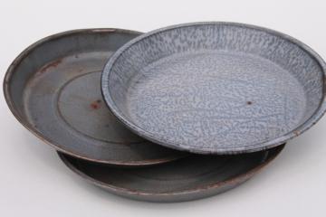 antique grey graniteware enamel pie pans or camp plates, vintage enamelwar