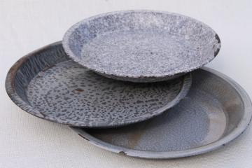 antique grey graniteware enamel pie pans or camp plates, vintage enamelware