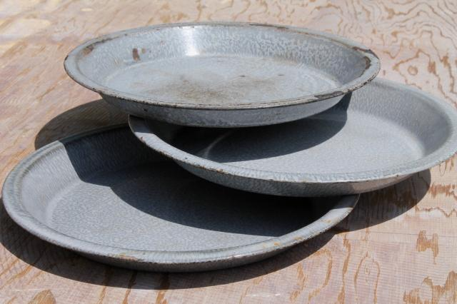 Antique Grey Graniteware Enamel Pie Pans Or Camp Plates Vintage Enamelware