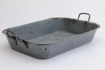 antique grey graniteware roasting pan, primitive enamel ware tray w/ handles