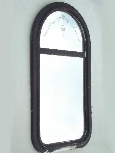 Antique Half Round Etched Glass Mirror Shabby Vintage