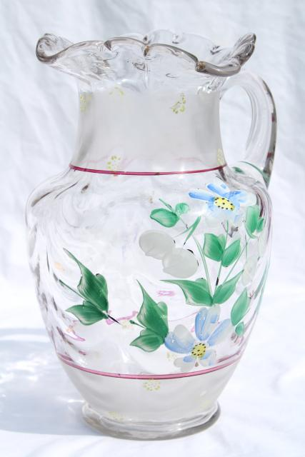 Antique Hand Blown Glass Lemonade Pitcher W Hand Painted