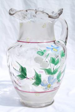 antique hand blown glass lemonade pitcher w/ hand painted enamel flowers
