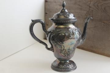 antique hand chased silver coffee pot or teapot, Victorian era vintage silverplate