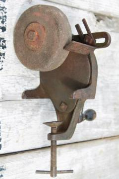 antique hand crank grinding, primitive grinder, farm shop tool for sharpening knives