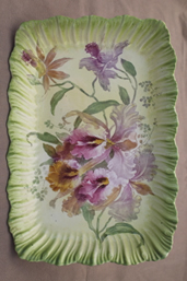 antique hand painted German iris china tray, Franz Anton Mehlem Royal Bonn Germany