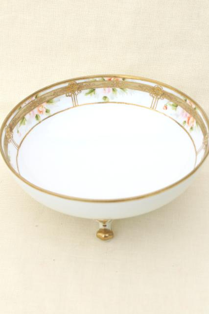 antique hand painted Nippon porcelain bowl w/ encrusted gold, footed dish for fruit or flowers