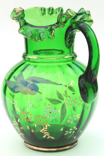 antique hand painted blown glass pitcher, emerald green ...