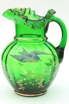 antique hand painted blown glass pitcher, emerald green glass w/ flying blue bird