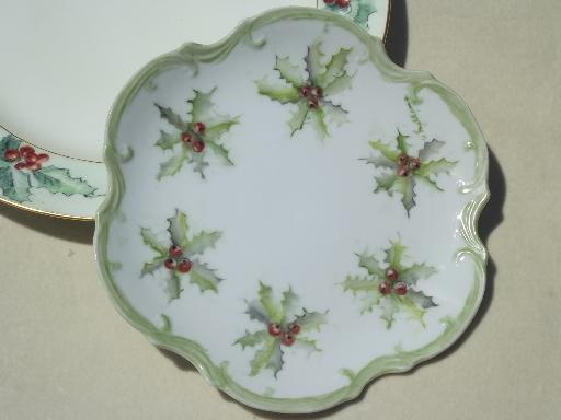 & antique hand painted china plates w/ Christmas holly circa 1910