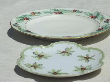 antique hand painted china plates w/ Christmas holly, circa 1910