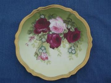 antique hand painted signed Rose Pompadour plate, Royal Austria china