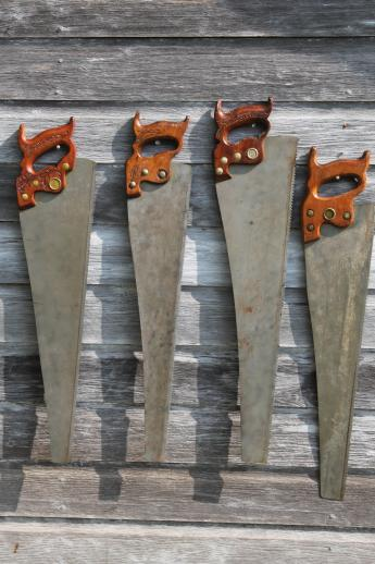 Antique Hand Saw Lot Of 4 Cross Cut Amp Rip Saws Vintage