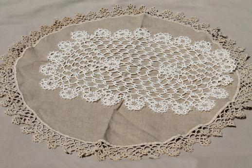 table doilies. Antique Handmade Tatted Lace Doilies, Vintage Table Mat \u0026 Trimmed Linen Centerpiece Doilies