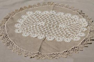 antique handmade tatted lace doilies, vintage table mat & lace trimmed linen centerpiece