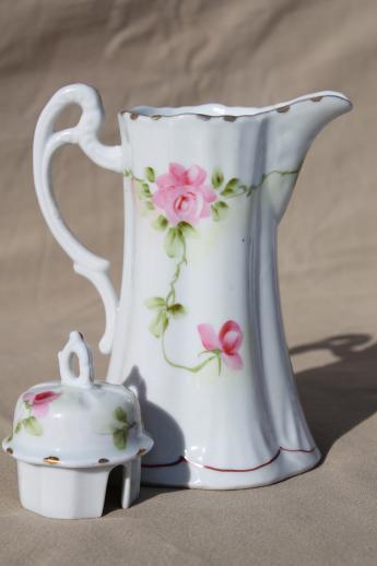 Antique Hand Painted Japan China Chocolate Pot Tall Tea