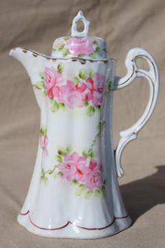 antique hand-painted Japan china chocolate pot, tall tea / coffee pot with flowers