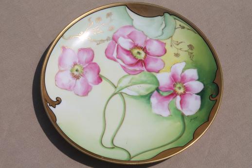 antique hand-painted Limoges porcelain plate w/ art nouveau rose early 1900s vintage & antique hand-painted Limoges porcelain plate w/ art nouveau rose ...