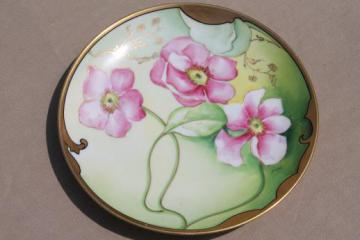antique hand-painted Limoges porcelain plate w/ art nouveau rose, early 1900s vintage