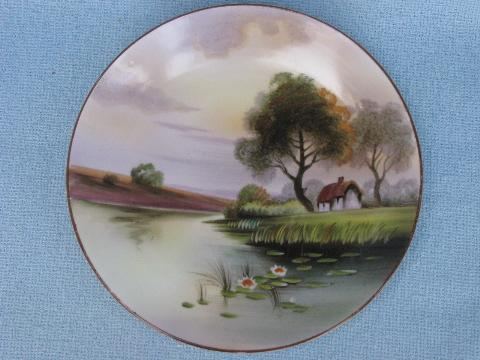 antique hand-painted Nippon china plate, vintage cottage on lake scene