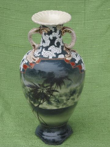 Antique Hand Painted Nippon Vase Tall Urn W Stormy Sea Palm Trees