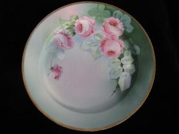 antique hand-painted Vienna china, huge porcelain charger plate, cabbage rose
