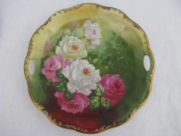 antique hand-painted china plate, pink cabbage roses on green vintage Germany porcelain