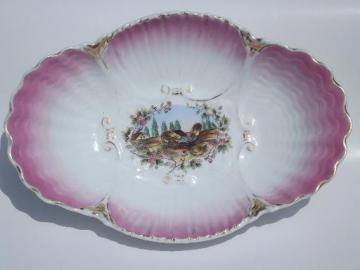 antique hand-painted china serving bowl, chicks in a barnyard farm scene