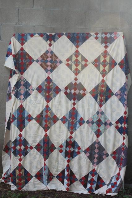 antique hand-stitched patchwork quilt top, vintage cotton prints & flour sack fabric