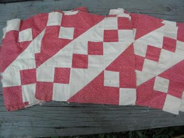 antique hand-stitched pieced patchwork quilt blocks, vintage fabric
