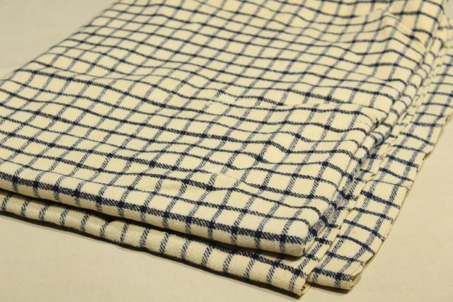 antique handwoven homespun wool blue &  white check Shaker blanket w/ red monogram embroidery