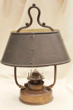 antique hanging brass oil lamp w/ metal shade, farmhouse or tavern light w/ old tarnish patina