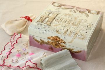antique hanky box, Victorian vintage dresser box marked Handkerchiefs