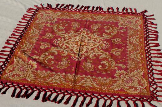 Antique Harvest Table Cover Shawl, Rich Red U0026 Gold Cotton Brocade Tablecloth  W/ Heavy Tassels Fringe