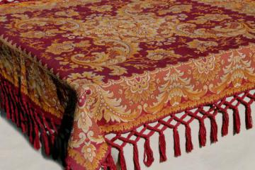 Antique Harvest Table Cover Shawl, Rich Red U0026 Gold Cotton Brocade Tablecloth  W/ Heavy