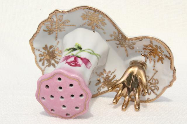 antique hatpin holder w/ hand to hold ring, early 1900s vintage hand painted Nippon china