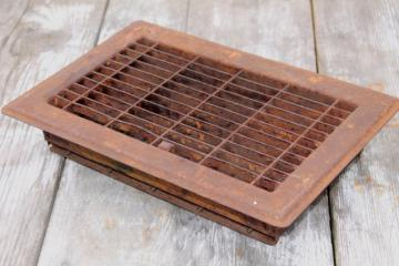 antique heating register grate vintage louvered vent rusty steel grating